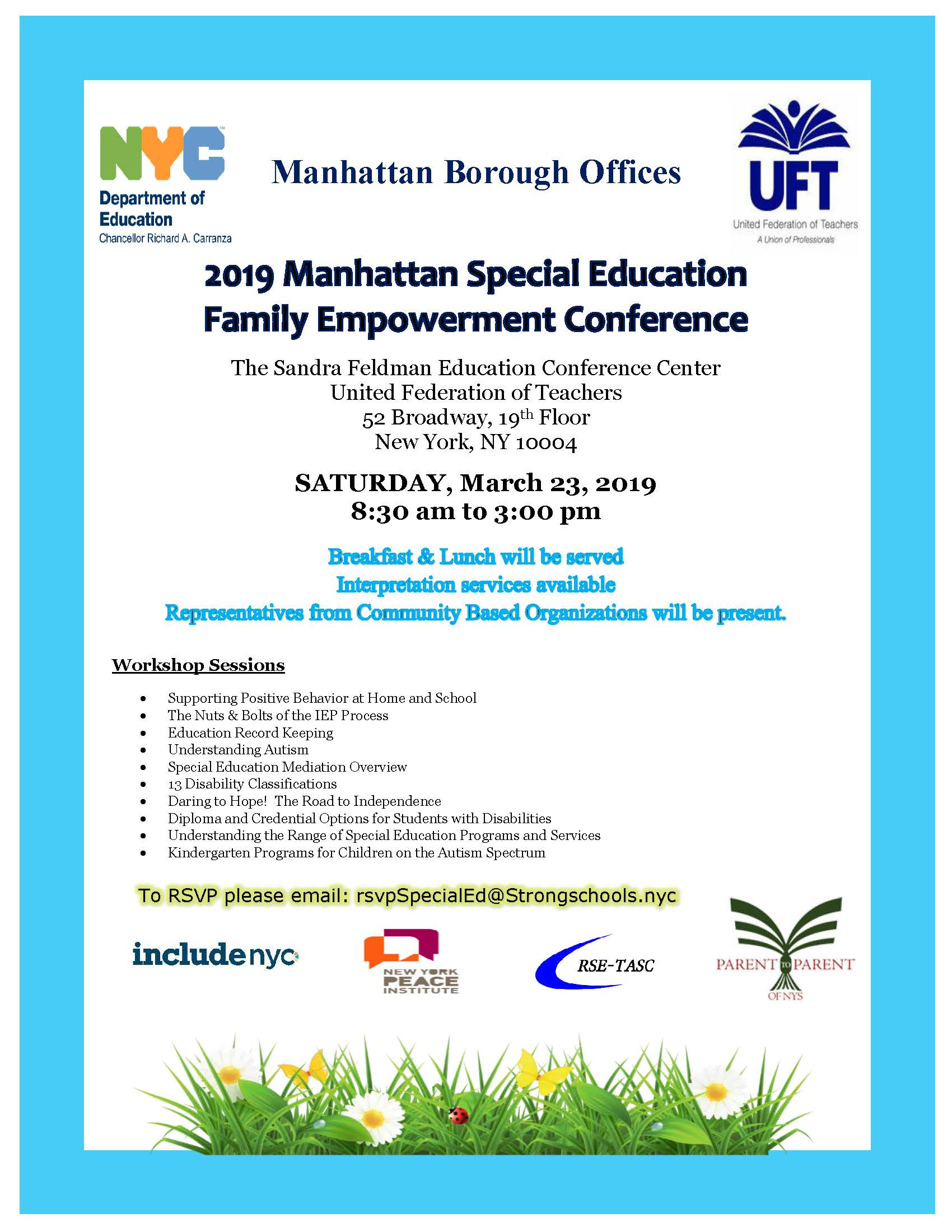 2019 Manhattan Special Education Family Empowerment Conference 03.23.2019 UPDATE